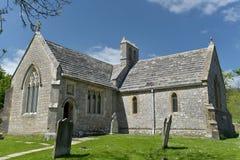 教会在Tyneham离开的村庄  免版税库存照片