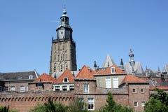 教会城市塔墙壁 库存图片