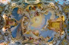 教会壁画wieskirche 免版税库存图片