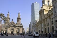 教会大教堂在圣地亚哥de智利 库存照片