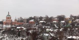 教会安置俄国斯摩棱斯克冬天 库存图片