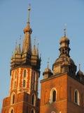 教会尖顶在克拉科夫,波兰 免版税库存照片