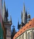教会尖顶在欧洲 库存图片