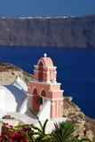 教会希腊传统海岛的santorini 库存照片