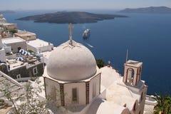 教会希腊海岛santorini 库存照片