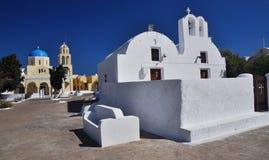 教会希腊oia santorini 免版税库存图片