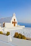 教会希腊oia santorini 库存照片