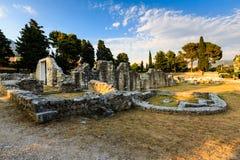 教会废墟在Salona古老城镇  免版税库存照片