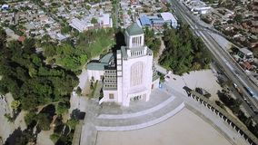 教会建筑学鸟瞰图在智利 库存照片