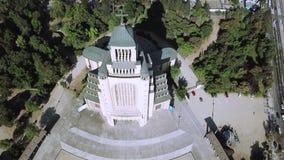 教会建筑学鸟瞰图在智利 免版税库存图片