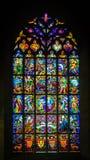 教会彩色玻璃 若瑟兰,法国布里坦尼美丽的村庄  免版税库存图片