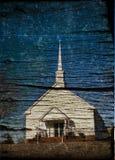 教会影响农村的grunge 免版税库存照片