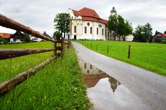 教会德国朝圣wies wieskirche 免版税库存图片