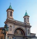 教会教区圣徒彼得和保罗传道者在都灵,意大利 教会片段 教会的钟楼 库存图片