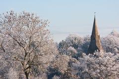 教会横向冬天 免版税库存图片