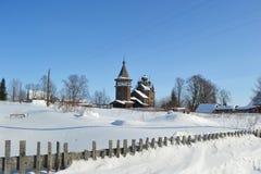 教会横向正统冬天 库存图片