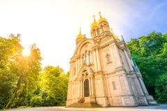 教会正统俄国威斯巴登 库存照片