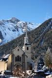 教会法语村庄 免版税库存照片