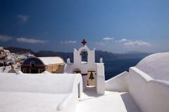 教会海岛santorini 免版税库存照片