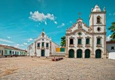 教会热带村庄 免版税库存图片