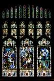 教会玻璃弄脏了视窗 免版税库存图片