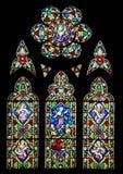 教会玻璃弄脏了视窗 图库摄影