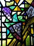 教会玻璃葡萄弄脏了视窗 库存图片