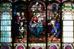 教会玻璃被弄脏的视窗 库存图片