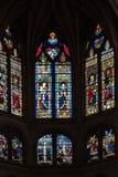 教会玻璃巴黎圣徒severin视窗 免版税库存照片