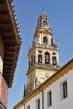 教会的上面在科多巴在南西班牙作为一座典型的西班牙钟楼,西班牙宗教建筑学的标志 图库摄影