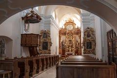 教会的内部在Litovel 图库摄影