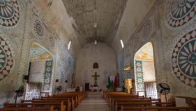 教会的内部在Uayma玛雅镇,尤加坦,墨西哥 图库摄影