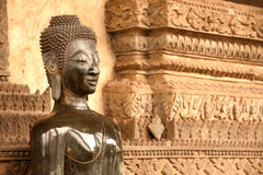 教会的古老菩萨在贺尔Phakaeo寺庙,老挝。 图库摄影
