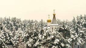 教会的圆顶在积雪的森林里 免版税库存图片