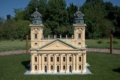 教会的微型复制品在德布勒森,索尔沃什,匈牙利 免版税库存照片
