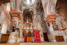 教会的教堂中殿有中世纪修道院复杂Gelati古老壁画的,联合国科教文组织世界遗产名录站点 图库摄影