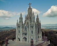 教会神圣的Heart.Tibidabo。巴塞罗那。 免版税库存照片