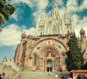 教会神圣的Heart.Tibidabo。巴塞罗那。 库存图片