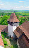 教会筑堡垒于的tranyslvania viscri 免版税库存照片
