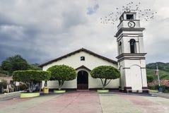 教会老城镇水彩 库存照片