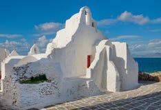 教会著名希腊mykonos paraportiani 免版税库存图片