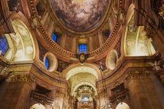 教会装饰天花板在维也纳,奥地利 免版税图库摄影