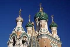 教会覆以圆顶正统俄语 免版税图库摄影