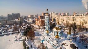 教会诞生鸟瞰图保佑了维尔京俄罗斯乌法2017年2月17日 免版税图库摄影