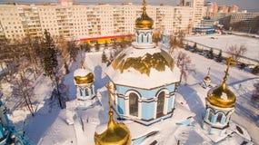 教会诞生鸟瞰图保佑了维尔京俄罗斯乌法2017年2月17日 图库摄影