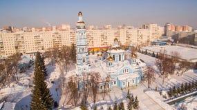 教会诞生鸟瞰图保佑了维尔京俄罗斯乌法2017年2月17日 库存照片