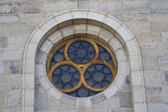 教会详细资料玻璃线索视窗 库存照片