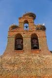 教会钟楼鹳巢 库存照片