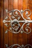 教会门细节在特隆赫姆,挪威 图库摄影