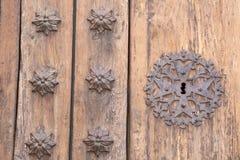教会门锁, Pollenca,马略卡 免版税库存照片